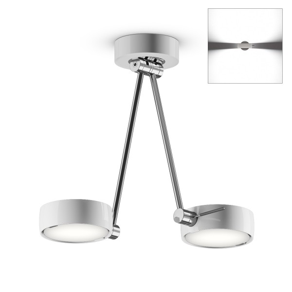 Occhio Sento A LED soffitto due up, 30 cm, Chrom / weiß glänzend