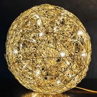 Fil de Fer Bodenleuchte, Ø: 90 cm, Gold, nicht dimmbar