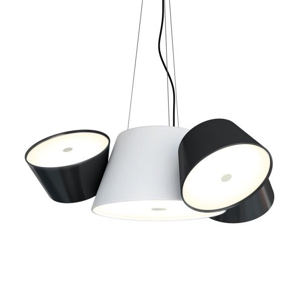 Marset Tam Tam Mini Pendelleuchte, Zentralschirm: weiß, Schirme: schwarz