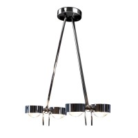 Top Light Puk Ceiling Sister Twin LED, 80 cm, Chrom, Glas satiniert / Linse klar