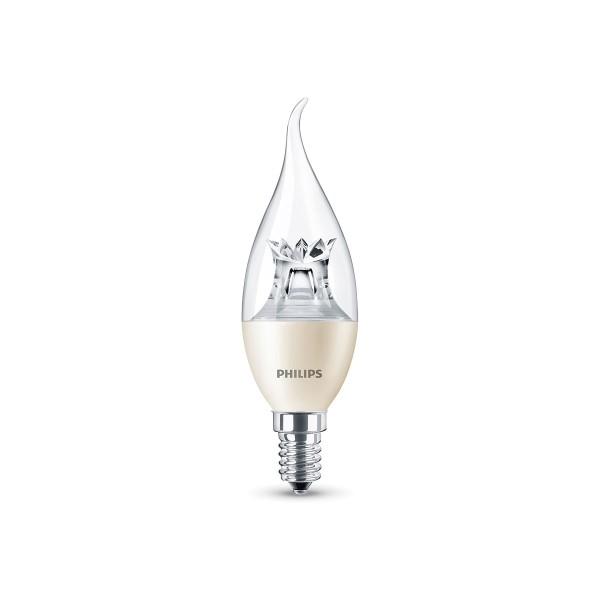 Philips LED Kerze geschwungen E14 4 W, Warmglow, dimmbar, klar