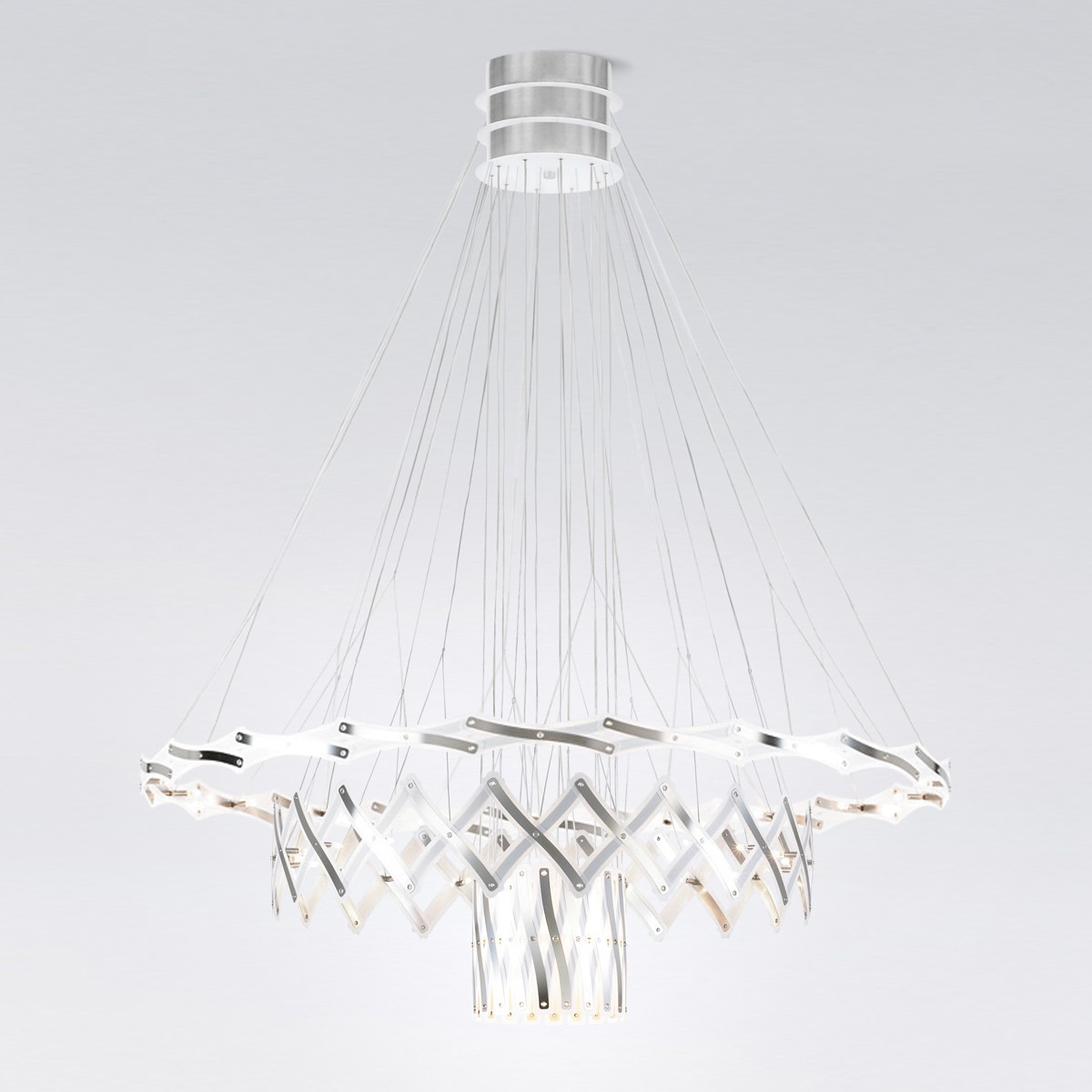 serien.lighting Zoom Pendelleuchte, 3 Elemente Ø: 20–130 cm, 60-flg.