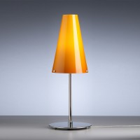 TLWS 03 Tischleuchte, Gestell: Nickel, Glas: melonfarben