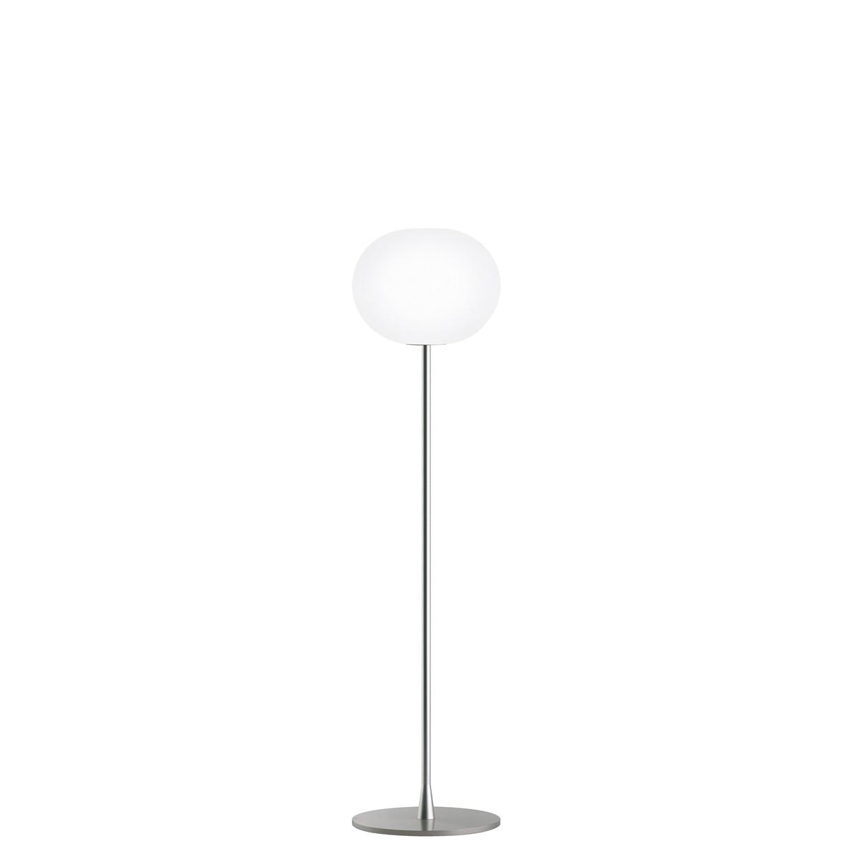 Flos Glo-Ball F Stehleuchte, F1, Höhe: 135 cm, Silber matt
