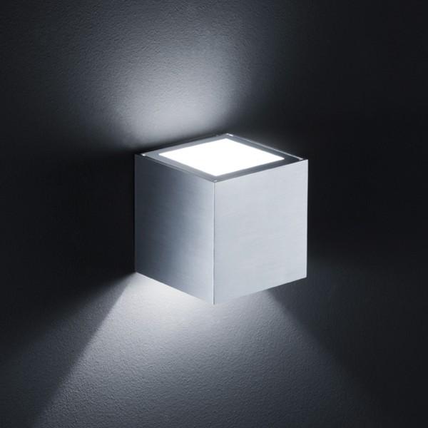 Helestra Siri Wandleuchte, Aluminium matt, mit Siri Streuscheibe, Aluminium matt, Glas satiniert (oben)
