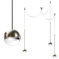 Convivio new LED Sopratavolo Tre, Nickel satiniert, Linse transparent