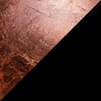 Lederam T1 Tischleuchte, Scheibe: Kupfer, Stange: schwarz