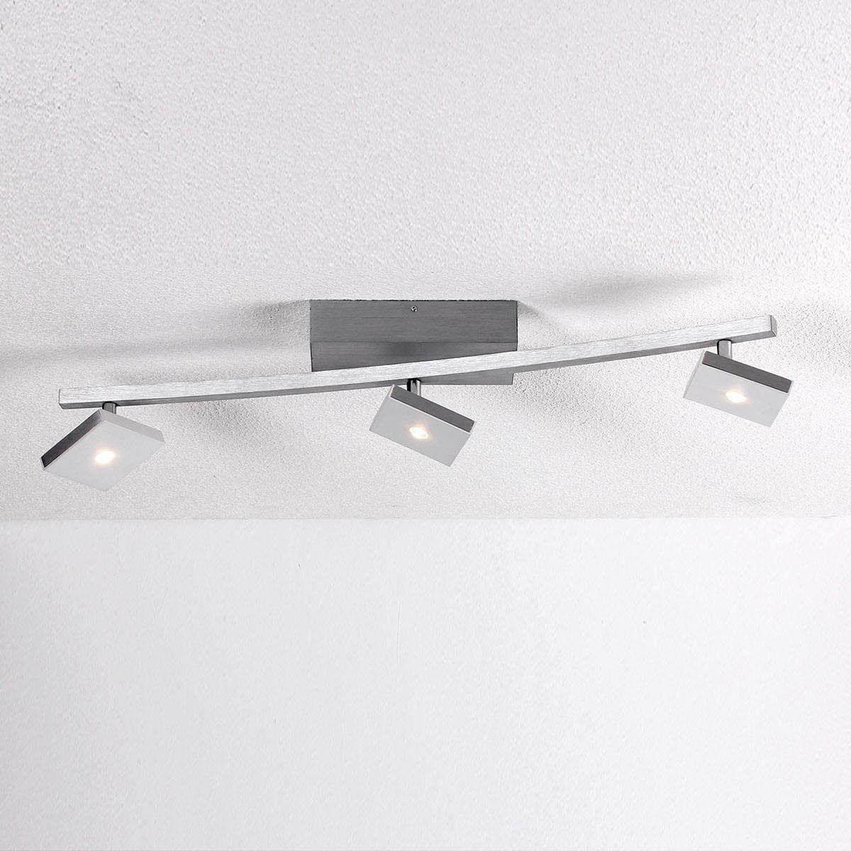 Bopp Domino LED Deckenleuchte, 3-flg., Aluminium geschliffen - weiß