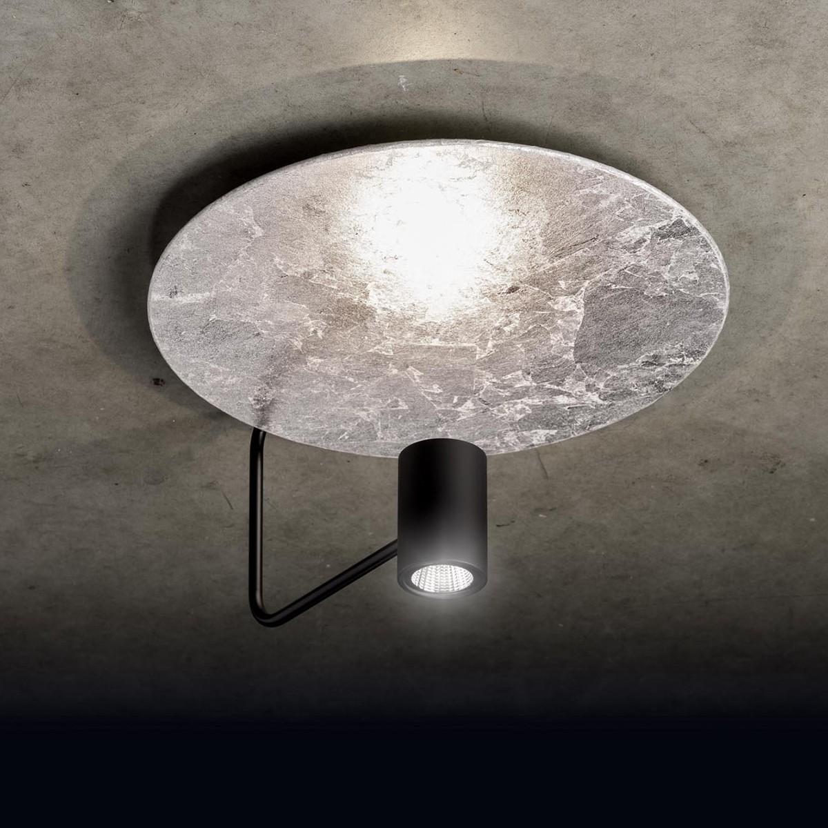 Holtkötter Leuchten Disc LED Deckenleuchte, Armatur: schwarz, Reflektor: Blattsilber