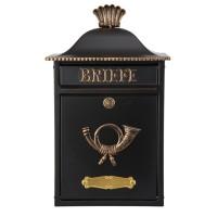 Mereno Briefkasten, schwarz / gold
