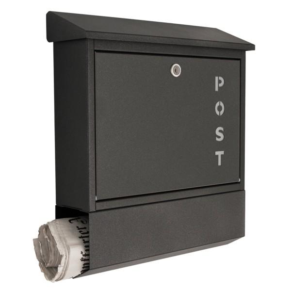 """Briefkasten mit Schriftzug """"Post"""", grafitgrau"""
