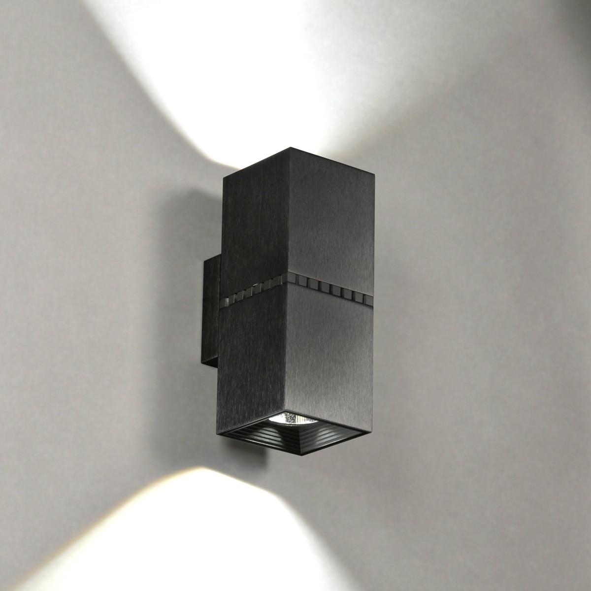 Milan Dau Doble Spot LED Wandleuchte, schwarz satiniert gebürstet