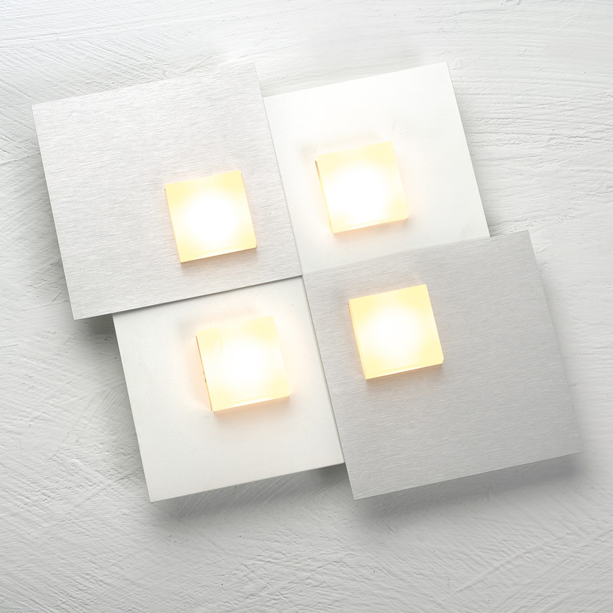 Bopp Pixel 2.0 LED Deckenleuchte 4-flg., weiß, Dekoplatte: Aluminium