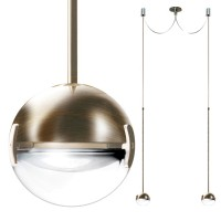 Convivio new LED Sopratavolo Due, Nickel satiniert, Linse transparent