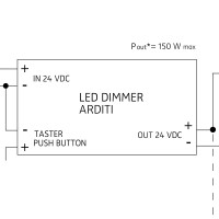 24 V PWM Dimmeinheit, max. 150 W, Ansteuerung per Taster (SELV)