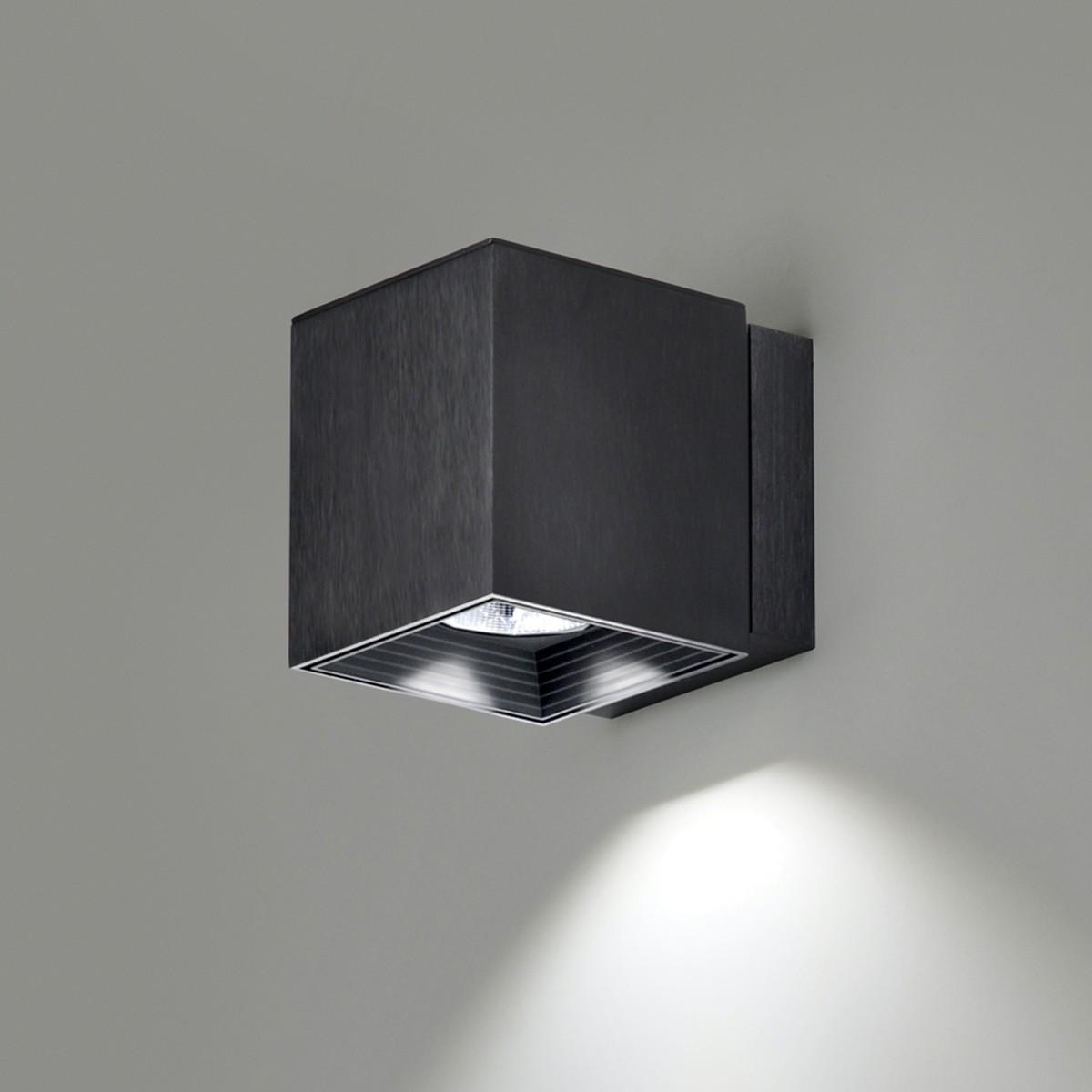 Milan Dau Spot LED Wandleuchte, schwarz satiniert gebürstet