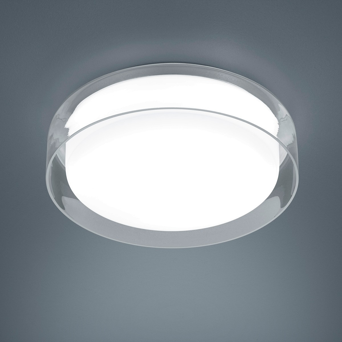 Helestra Olvi LED Deckenleuchte, Ø: 35 cm, Opal weiß / Außenglas klar