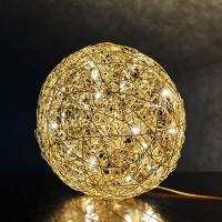 Fil de Fer Bodenleuchte, Ø: 40 cm, Gold, dimmbar