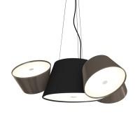 Tam Tam Mini Pendelleuchte, Zentralschirm: schwarz, Schirme: graubraun