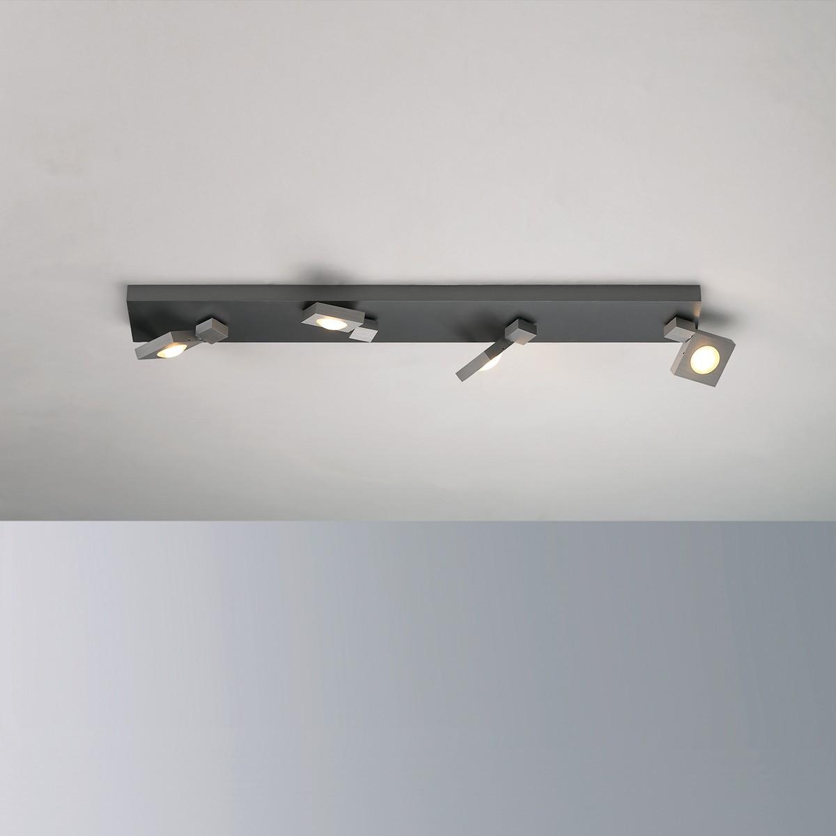 Bopp Flash LED Deckenleuchte 4-flg., Aluminium geschliffen - anthrazit lackiert