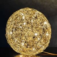 Fil de Fer Bodenleuchte, Ø: 60 cm, Gold, nicht dimmbar