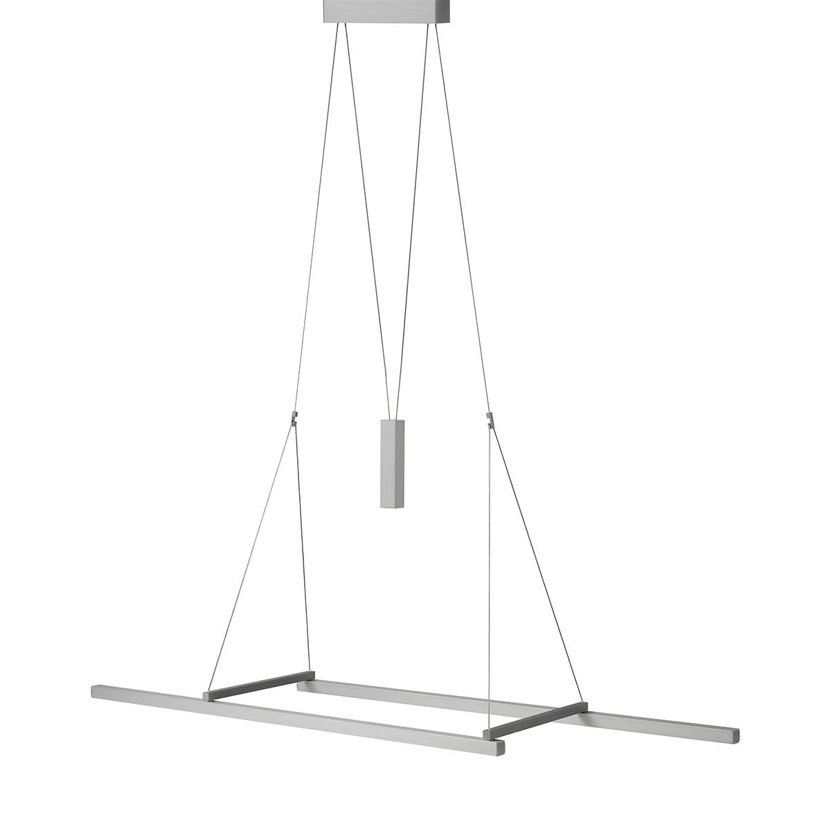 Byok Squadra Pendelleuchte, Länge: 125 cm, Aluminium matt