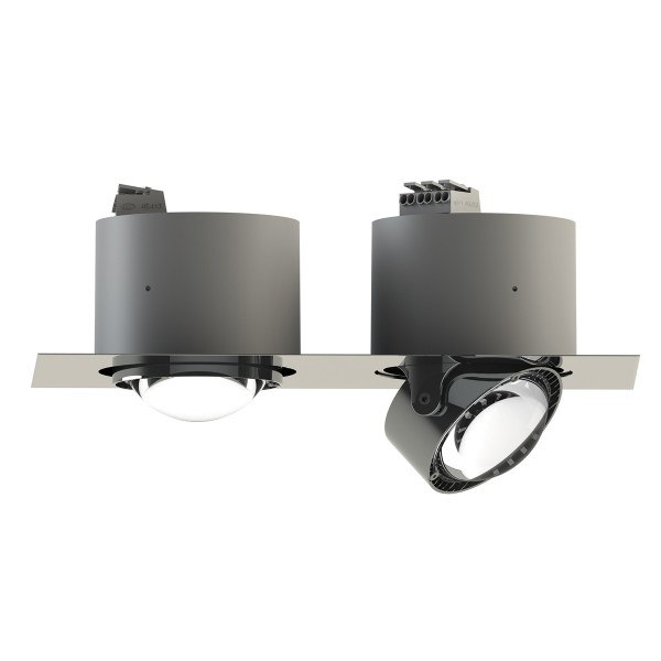 Top Light Puk Inside Twin LED Deckeneinbauleuchte, Chrom, Linsen klar