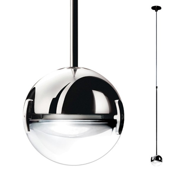 Cini & Nils Convivio new LED Sopratavolo, H. max. 200 cm, Chrom, Linse transparent