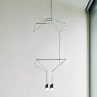 Wireflow Pendelleuchte, 4-flg., 80 x 80 cm, schwarz