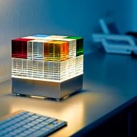 Tecnolumen Lichtobjekt Cubelight, Echtglas bunt