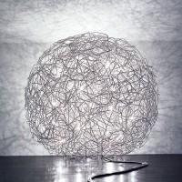 Fil de Fer Bodenleuchte, Ø: 60 cm, Aluminium, nicht dimmbar