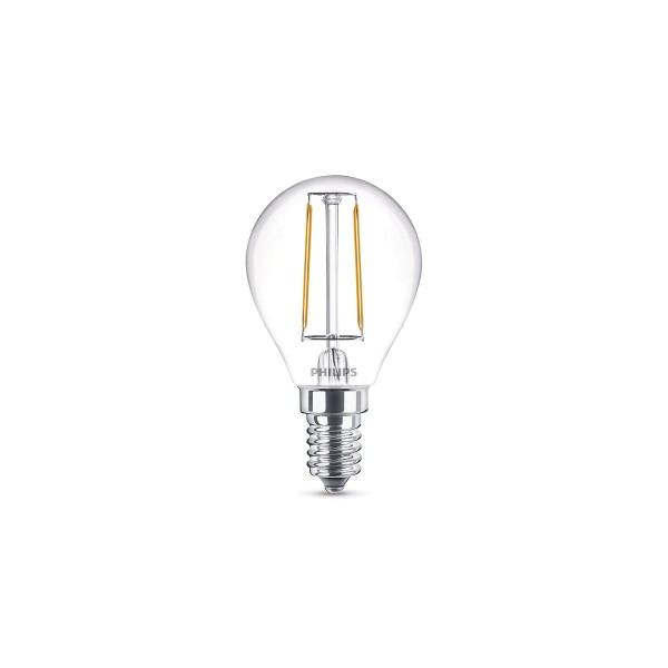 Philips LED Classic Tropfen E14 2 W, warmweiß, klar