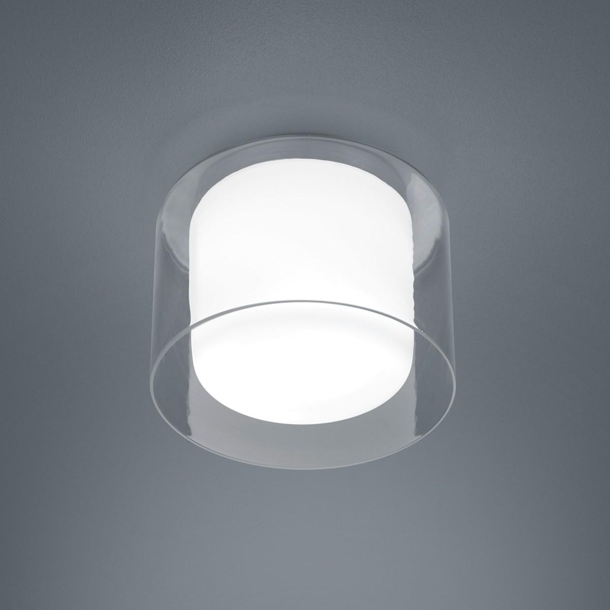 Helestra Olvi LED Deckenleuchte, Ø: 23 cm, Opal weiß / Außenglas klar