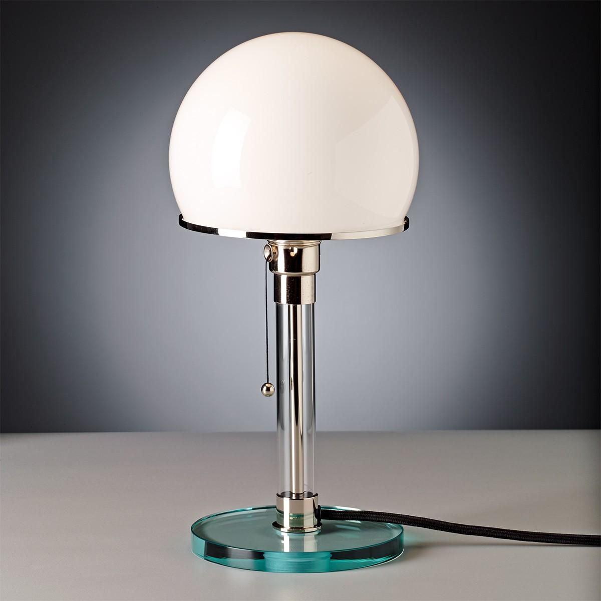 Tecnolumen Wagenfeld Tischleuchte, WG 24, Fuß + Schaft: Klarglas, Schirm: Glas opalüberfangen