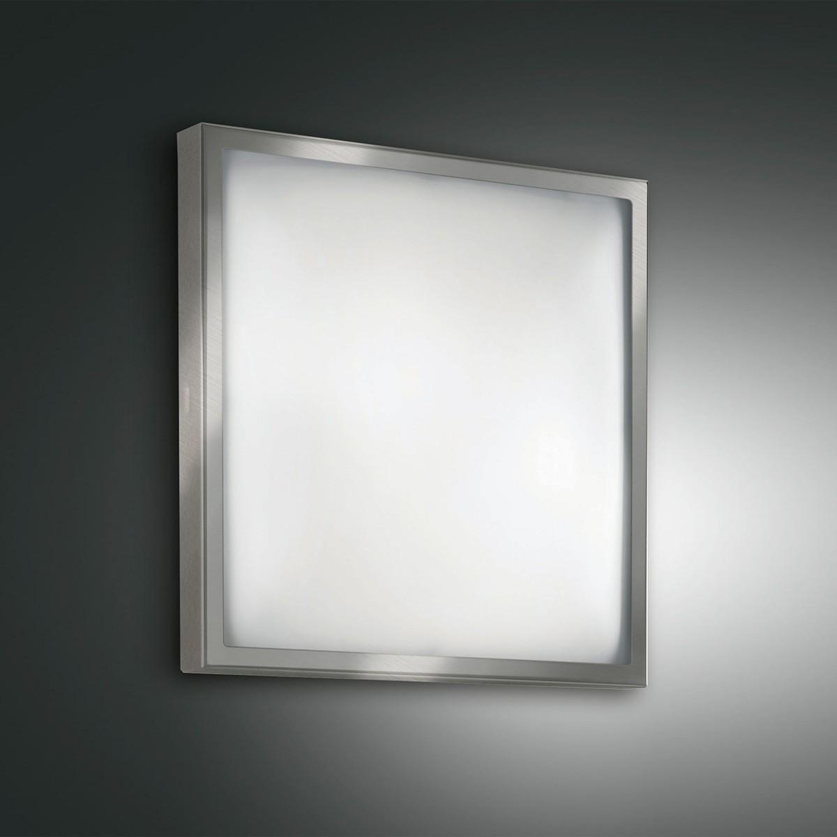 Fabas Luce Osaka LED Deckenleuchte, 30 x 30 cm, 3000 K, Nickel satiniert