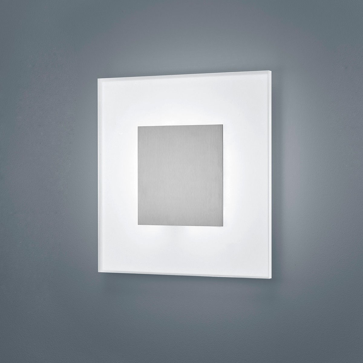 Helestra Vada Wand- / Deckenleuchte, 27 x 27 cm, Nickel matt - Acrylglas teilsatiniert