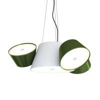 Tam Tam Mini Pendelleuchte, Zentralschirm: weiß, Schirme: grün