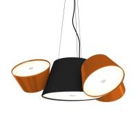Tam Tam Mini Pendelleuchte, Zentralschirm: schwarz, Schirme: orange