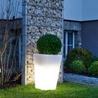 Epstein-Design Quadro Außenleuchte / Pflanzgefäß, weiß, Höhe: 68 cm