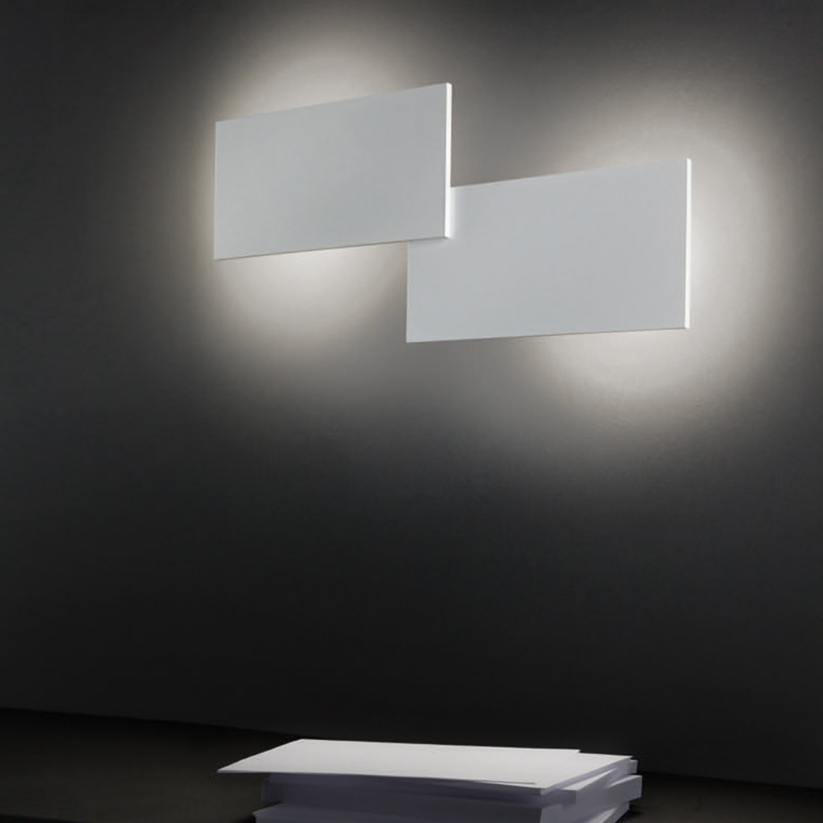 Studio Italia Design Puzzle Double Rectangle Wand- / Deckenleuchte, 3000 K, weiß matt