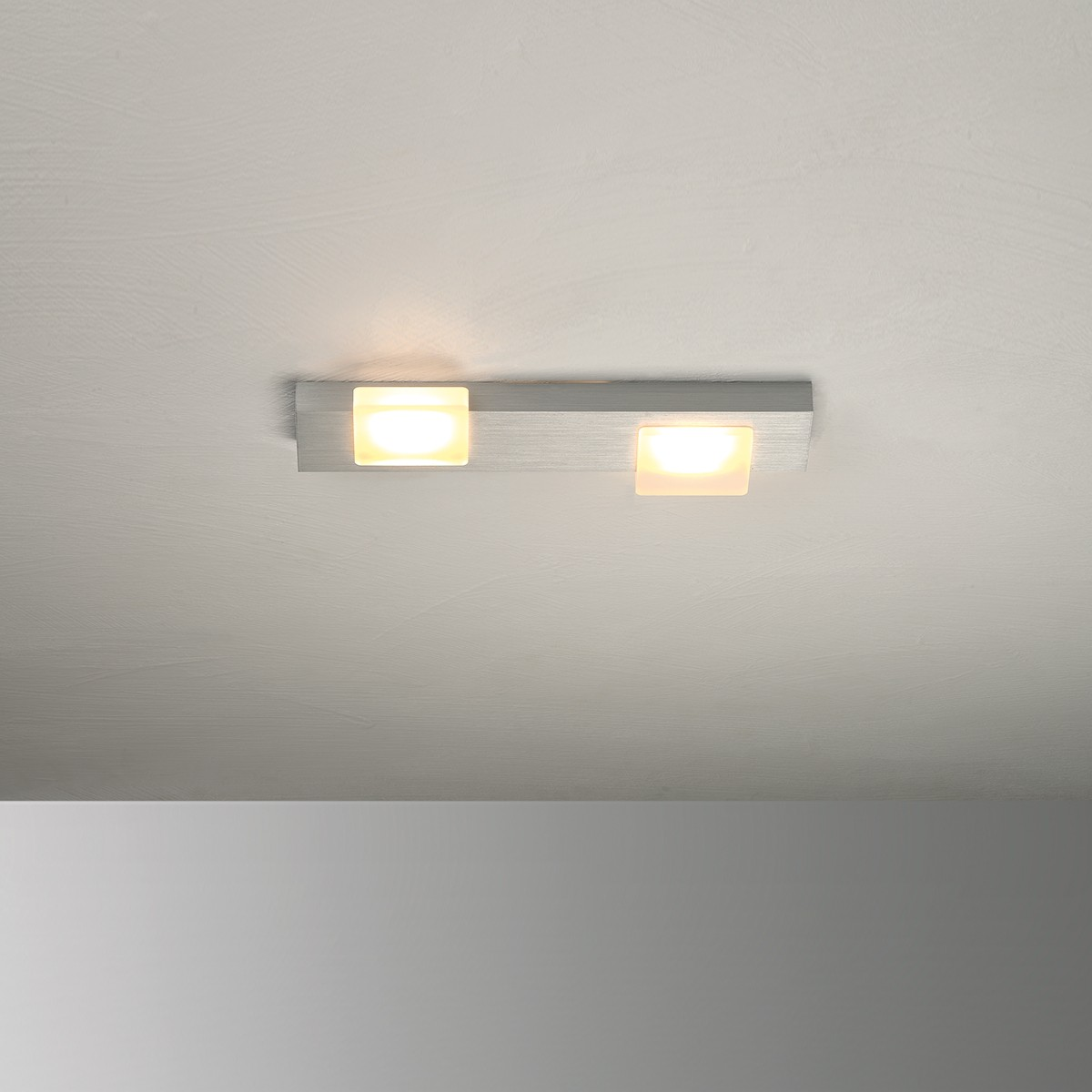 Bopp Lamina LED Deckenleuchte 2-flg., Aluminium geschliffen