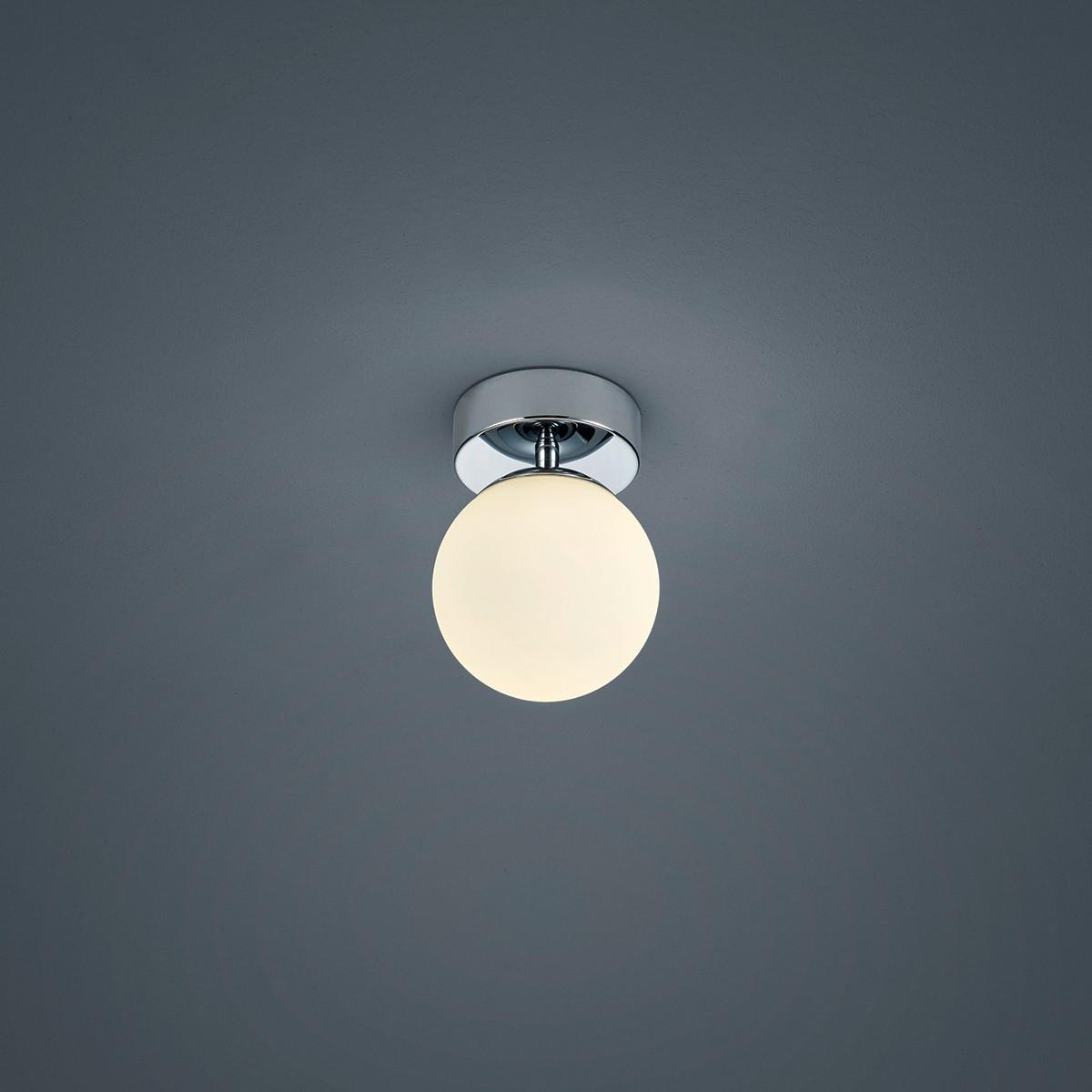Helestra Keto Deckenleuchte, kugelförmig, Chrom - Opalglas