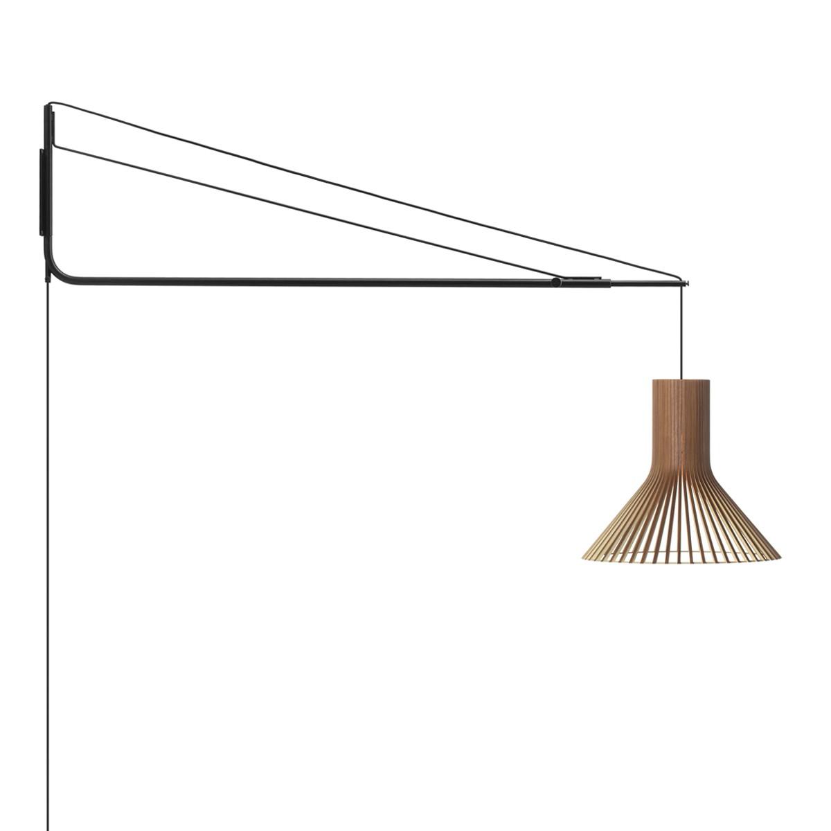 Secto Design Varsi 1000 Wandleuchte mit Puncto 4203, schwarz, Schirm: Walnussfurnier
