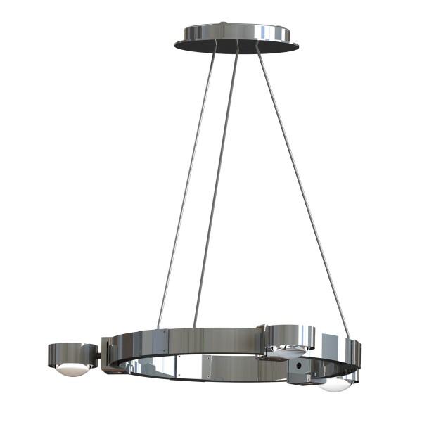 Top Light Puk Crown LED S Pendelleuchte, Chrom, Glas satiniert / Linse klar