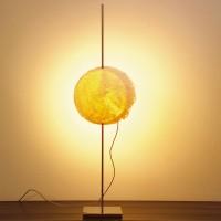 PostKrisi Tischleuchte, Ø: 20 cm, Höhe: 65 cm, Schirm: gelb, Gestell: Nickel