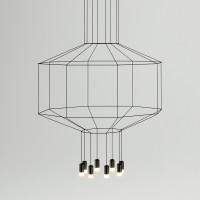 Wireflow Pendelleuchte, 8-flg., 150 x 150 cm, schwarz
