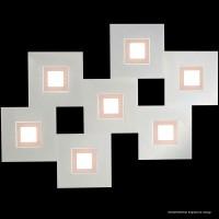 Karree Wand- / Deckenleuchte, 7-flg., perlglanz - pastellkupfer