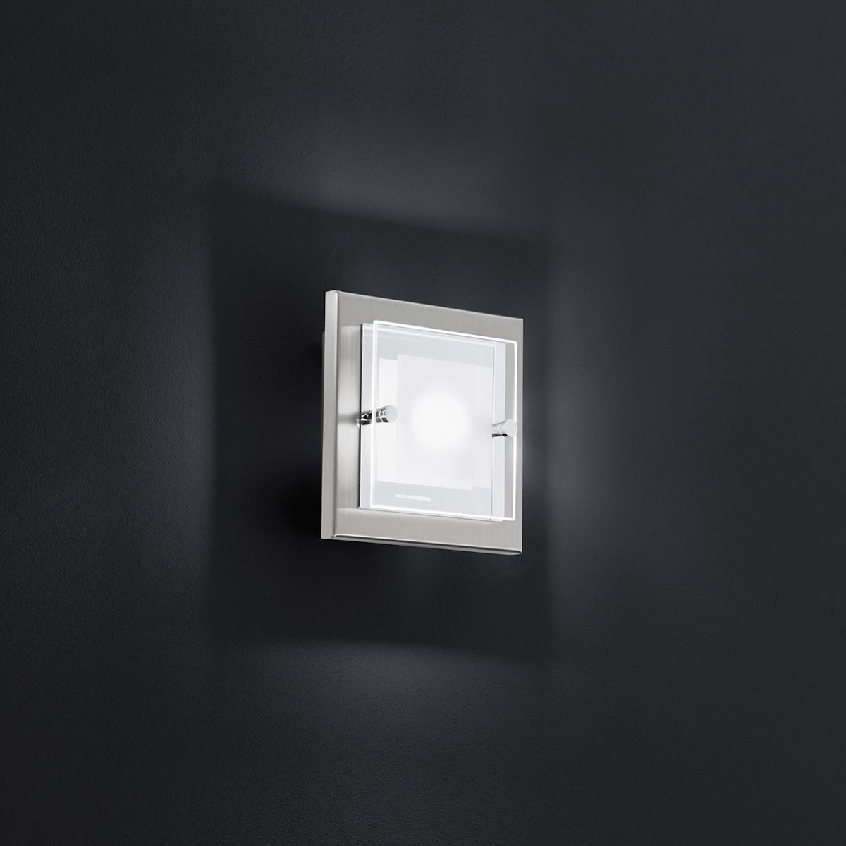 Grossmann Domino LED Wand- / Deckenleuchte, Nickel matt, 16 x 16 cm