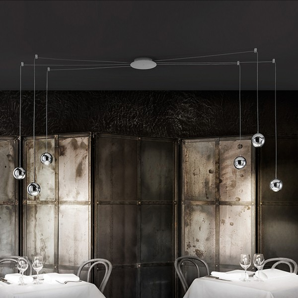 Studio Italia Design Spider Pendelleuchte, 6-flg., Chrom