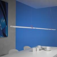 Slimline Pendelleuchte, Länge: 150 cm, Aluminium geschliffen, mit rotem Clip